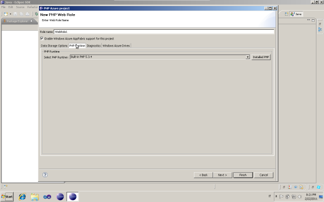 Windows Azure PHP web role PHP runtime